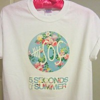 5SOS Five Seconds Of Summer Logo Circle Floral Flowers 1 One Direction
