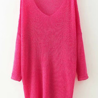 Rose Red V-Neck Long Sleeve Knitted Sweater