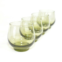 """Olive / Avocado Green Glass Tumblers (Set of 4) - Roly Poly or """"On The Rocks"""" Glasses by Libbey, Retro Barware - Vintage Home Decor"""