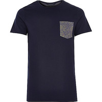 River Island MensNavy Jack & Jones Premium pocket t-shirt