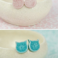 Cat Kitty Earrings Turquoise Pink Tiny Cats Ceramic Studs Fun Earrings