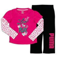 PUMA Mock-Layer Graphic Tee & Pants Set - Girls