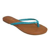 INSANITY CLOSEOUT! Forever Faithful Braided Classic Strap Teal Flip Flops, Sandals