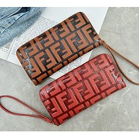 FENDI Popular Women Men Shopping Leather Zipper Purse Wallet Wrist Bag