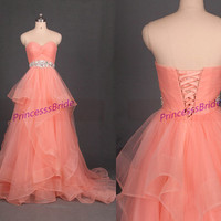 2015 coral tulle prom dresses with rhinestones,affordable chic wedding gowns in stock,new sweetheart women dress for holiday party.