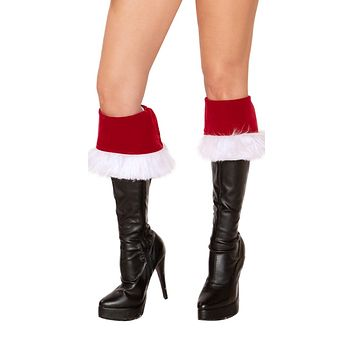 Sexy Santa Holiday Faux Fur Red Velvet Boot Cuffs