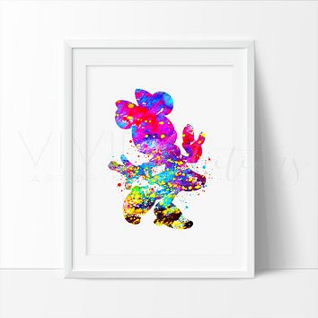 Minnie Mouse 4 Watercolor Art Print