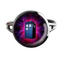 Dr Who Inspired Tardis Ring - Pink Electrical Storm - Public Police Box Jewelry - Geeky Whovian