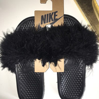 Black Furry Nike Slippers