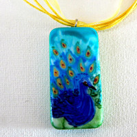 Peacock Hand Painted Pendant Necklace Domino Pendant