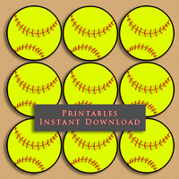 """2.5"""" Softball Printable Cupcake Toppers Sports Theme Birthday Party DIY Printable INSTANT DOWNLOAD"""