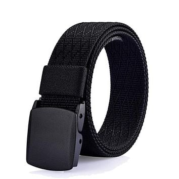 High Quality Anti Allergy Canvas Tactical Belt Outdoor Quick-Drying Military Belts For Men's Solid Patriot Belt Black