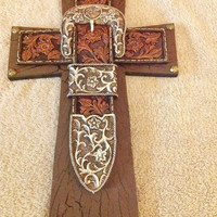 Western Belt Buckle Cross