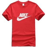 NIKE Summer New Fashion Letter Hook Print Women Men Leisure Top T-Shirt Red