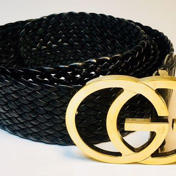 Authentic Vintage GUCCI Gold Buckle GG/Black woven leather belt size 34.