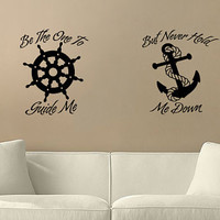 """Home Decor """"Helm and Anchor"""" Home Decor Wall Vinyl Decal"""