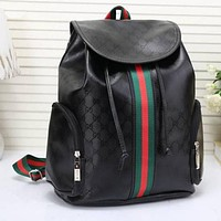 Gucci Women Leather Bookbag Shoulder Bag Handbag Backpack F