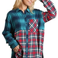 Umgee USA Women's Mixed Plaid Print Long Sleeve Tunic with High Low Hem