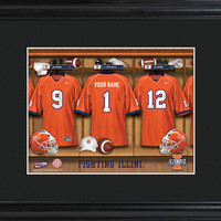 College Locker Room Print in Wood Frame - Illinois