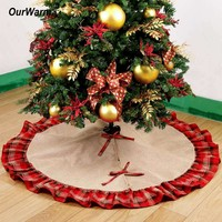 Ourwarm Pastoral Style Christmas Tree Skirts 48Inch Burlap Black And Red Plaid Ruffle Edge Christma