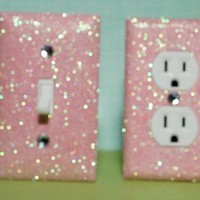 SET Of Light PINK Glitter Swichplate Outlet Covers ALL Styles