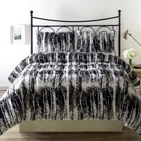 Cozy Beddings Silhuett 2-Piece Reversible Down Alternative Comforter Set with Anti-Microbial Finish, Twin, Black/White