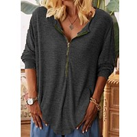 fhotwinter19 hot sale women's hot sale zipper solid color long-sleeved t-shirt