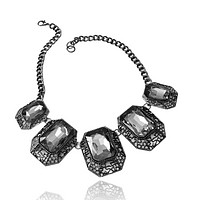 Chunky Crystal Rectangle Filigree Necklace