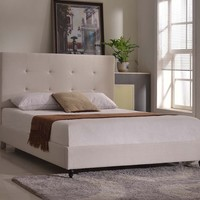 """New Century® Ivory Linen 47"""" Inches Headboard Platform Bed With Slats"""