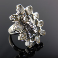 Meteorite & Herkimer Diamond (Quartz) Sterling Silver Ring - Size 7.75