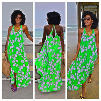 Sleeveless Sexy Green Print Maxi Long Dress