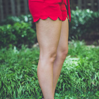 Scalloped Trim Gameday Shorts in Red