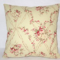 "Retro Floral Pillow, American Folk Amadeus, 17"" Sq Cotton, Vintage Look, Pink Roses, Music, Zipper Cover Only or Insert Included"