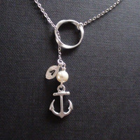 Sale-Personalized Initial, Twisted Circle Connector, Swarovski Cream Pearl With Mini Anchor Charm -16k White Gold Lariat Necklace