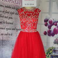 Hot sales red tulle open back short homecoming dress prom ,high neck rhinestones a line short prom gown,homecoming dresses 2015