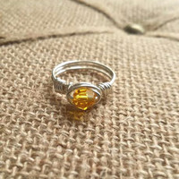 Sunflower Yellow Crystal Ring / Crystal Ring / Wire Wrapped Jewelry / Wire Ring / Yellow / November color / Crystal / Made To Order