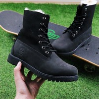 Best Online Sale Timberland Authentics Waterproof Fold DownShearling Black Mid Boots Outdoor Sneaker