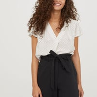 Satin Blouse - White/dotted - Ladies | H&M US