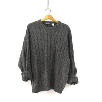 Vintage Chunky Cable Knit gray sweater. Thick knit speckled sweater. Oversized. XL