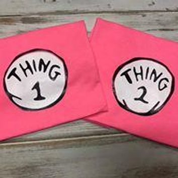 Thing 1 and Thing 2 shirts or Onesuits