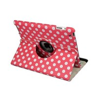Hot Pink and White Polka Dot Pattern PU Leather Case For iPad 3 and iPad 2 With 360 Degrees Rotating Stand