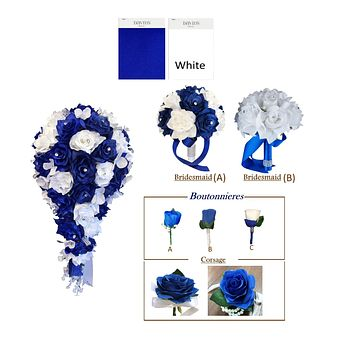 Royal Blue White Rose with Silver Accents Set