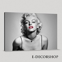 Marilyn Monroe Canvas Print Marilyn Monroe Art Canvas Painting Black and Red Gray Large