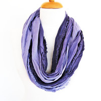 Purple / Licac Infinity Style Cotton Scarf, Long Scarf, Gift