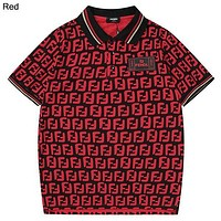 Fendi 2019 new full printed logo lapel Polo half sleeve t-shirt Red