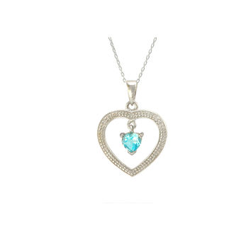 Sterling Silver Blue Topaz and Diamond Open Heart Necklace (.01 cttw, I-J, I2)