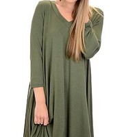 V Neck Tshirt Dress, Dark Olive