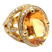 TEMPLE ST CLAIR Diamond Imperial Topaz Pave Halo Vine Yellow Gold RIng