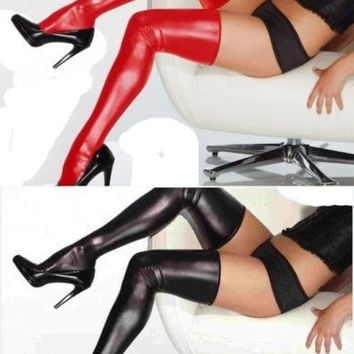 Women's Fashion Gothic Punk Red Faux Leather Wetlook Thigh-high Stockings for costume lingerie = 1932730628