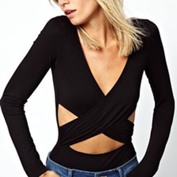 Black Long Sleeve Wrap Cut-Out Top
